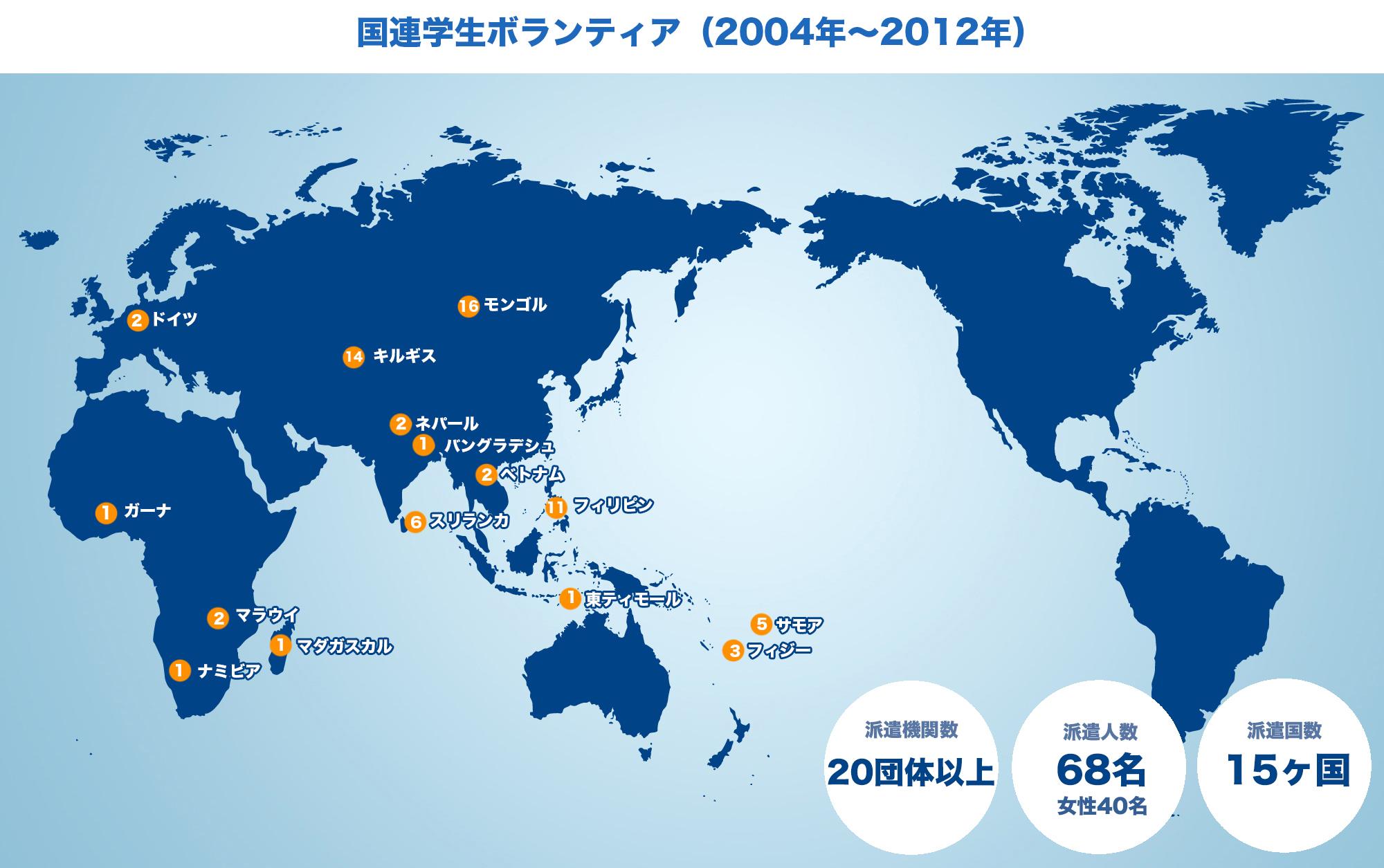 国連学生ボランティア地図